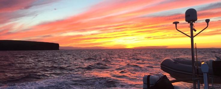 Solnedgång över Orkney