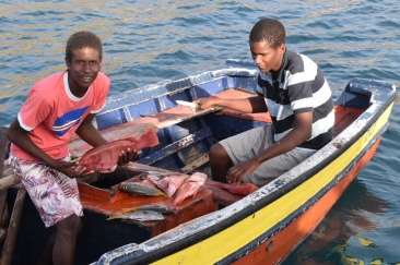 Lukas och hans bror säljer fisk