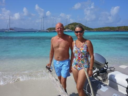 På stranden Tobago Cays