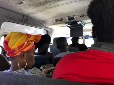 I minibuss på väg till Scarborough